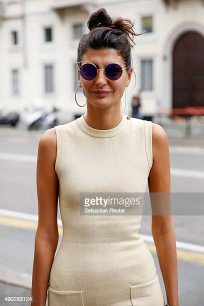 Designer Giovanna Battaglia is seen during the Milan Fashion Week Spring/Summer 16 on September 27 2015 in Milan Italy