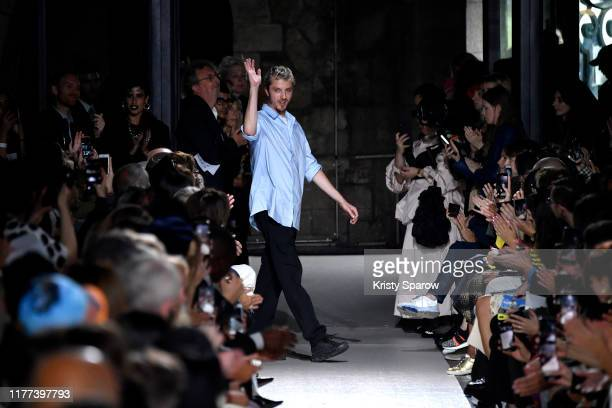 Designer Glenn Martenss acknowledges the audience during the Y/Project Womenswear Spring/Summer 2020 show as part of Paris Fashion Week on September...