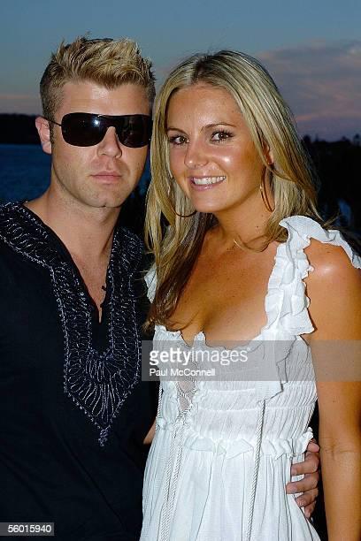 Designer Glenn Nutley with Cleo Editor Jo Feguson attend the Cleo Swimsuit Party at Altona on October 26 2005 in Sydney Australia