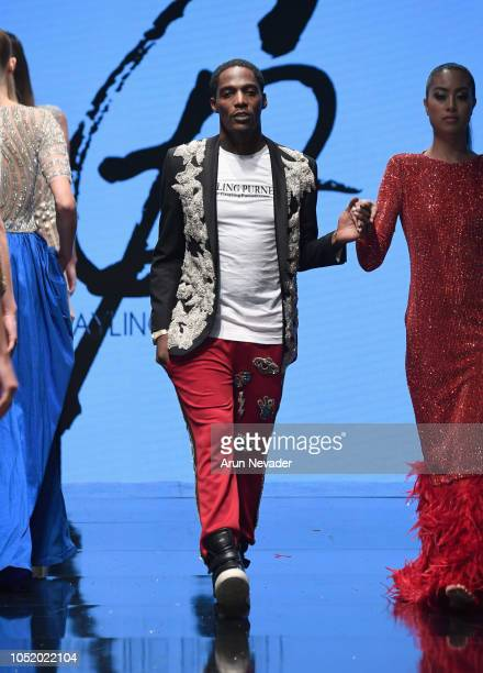 Designer Grayling Purnell walks the runway at Los Angeles Fashion Week Powered by Art Hearts Fashion LAFW SS/19 at The Majestic Downtown on October...