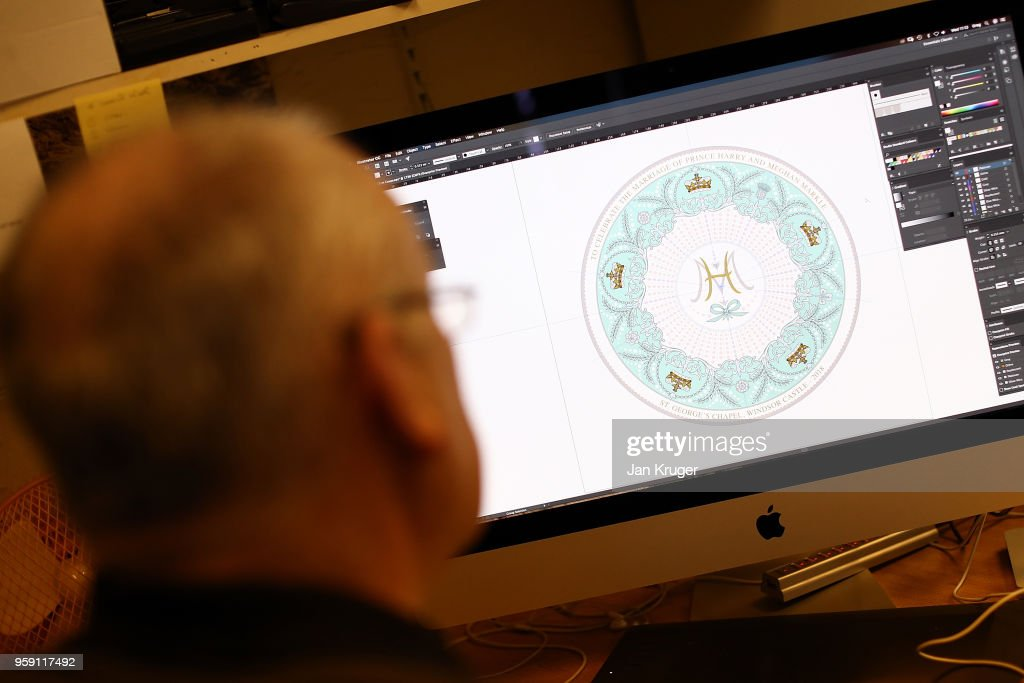 Designer Greg Henshaw inspects the special edition design ahead of the wedding of Prince Harry and Meghan Markle at William Edwards Home Ltd on May 16, 2018 in Stoke on Trent, England. Crafted in the Potteries, William Edwards Home Ltd has created a limited edition collection of fine bone china embellished with both platinum and 22 carat gold to celebrate the Royal marriage of HRH Prince Harry and Meghan Markle.