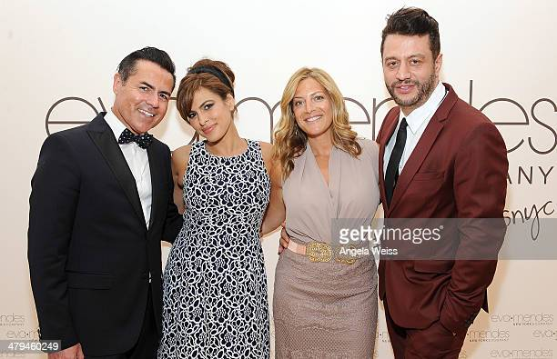 Designer Greg Scott actress Eva Mendes Marielle Gelber director of public relations New York Company and Alejandro Blanco attend the launch of Eva...