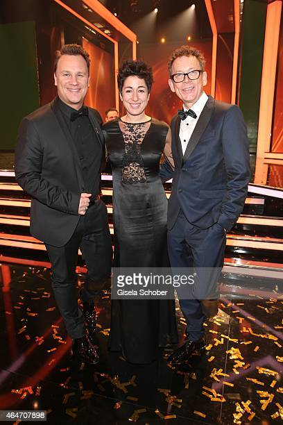 Designer Guido Maria Kretschmer and his husband Frank Mutters and Dunja Hayali during the Goldene Kamera 2015 after show party on February 27 2015 in...