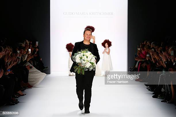Designer Guido Maria Kretschmer attends his show during the MercedesBenz Fashion Week Berlin Autumn/Winter 2016 at Brandenburg Gate on January 20...