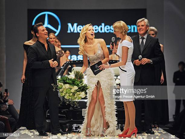 Designer Guido Maria Kretschmer Karolina Kurkova Tanja Buelter and Walter Mueller attend the presentation of the new Mercedes SL at the Mercedes Benz...