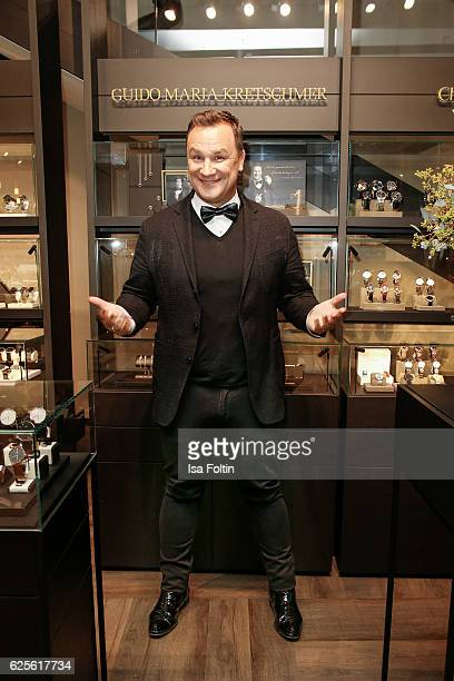 Designer Guido Maria Kretschmer presents his 'Gluecksmuenz' collection at the CHRIST store on November 24 2016 in Munich Germany