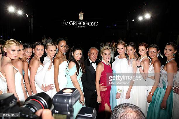 Designer Gyunel Rustamova De Grisogono President and CEO Fawaz Gruosi and actress Sharon Stone attend the De Grisogono dinner party in collaboration...