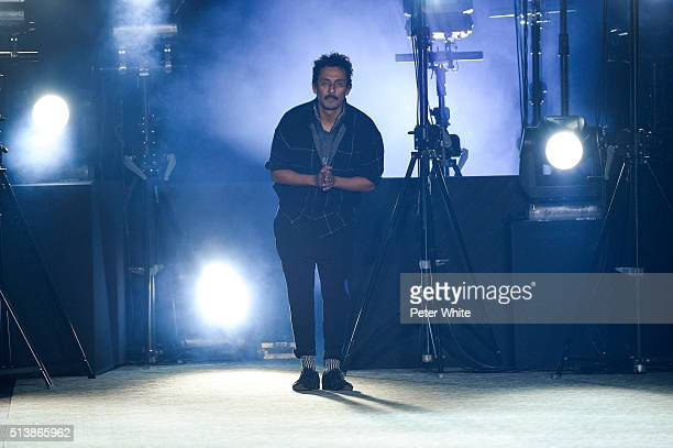 Designer Haider Ackermann acknowledges the applause of the public after the Haider Ackermann show as part of the Paris Fashion Week Womenswear...