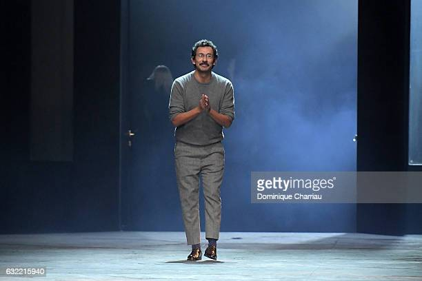 Designer Haider Ackermann walks the runway during the Berluti Menswear Fall/Winter 20172018 show as part of Paris Fashion Week on January 20 2017 in...