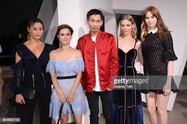 Designer Han Chong poses with actresses Jamie Chung Rachel Bilson Jaime King and Karen Gillan at the SelfPortrait Spring Summer 2018 Front Row during...