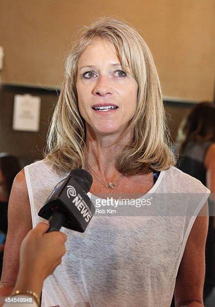 Designer Hannah Webb talks with the media backstage at Athleta during MercedesBenz Fashion Week Spring 2015 at SIR Stage on September 3 2014 in New...