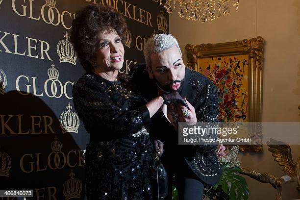 Designer Harald Gloeoeckler and Gina Lollobrigida clebrate their 20 years of friendship at the Harald Gloeoeckler Gallery on February 4 2014 in...