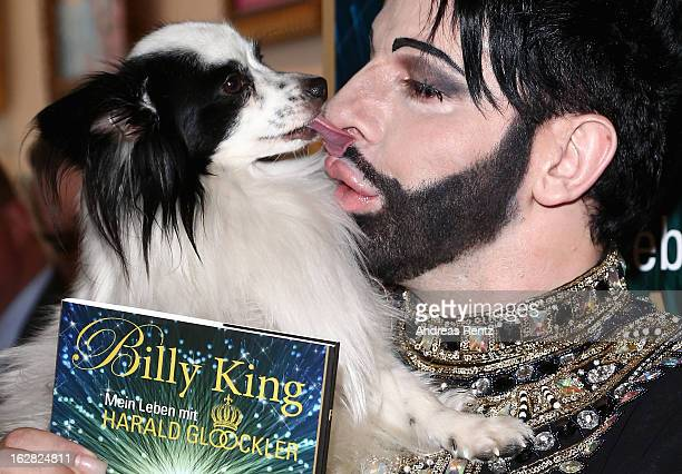 Designer Harald Gloeoeckler and his dog Billy King present their book 'Billy King Mein Leben mit Harald Gloeoeckler' on February 28 2013 in Berlin...