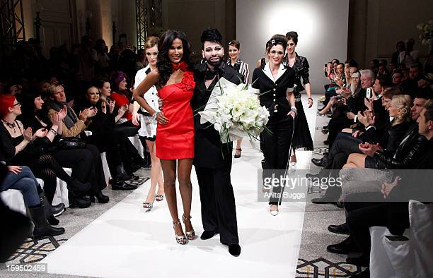 Designer Harald Gloeoeckler and models pose for the press during the 'Gloeoeckler Presented By bonprix' Fashion Show at Hotel de Rome on January 14...