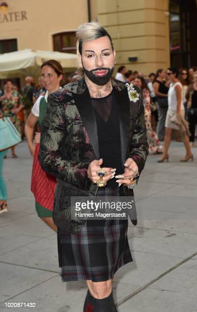 Designer Harald Gloeoeckler during 'POMPOEOES By Angermaier Collection Presentation' at Deutsches Theatre on August 21 2018 in Munich Germany