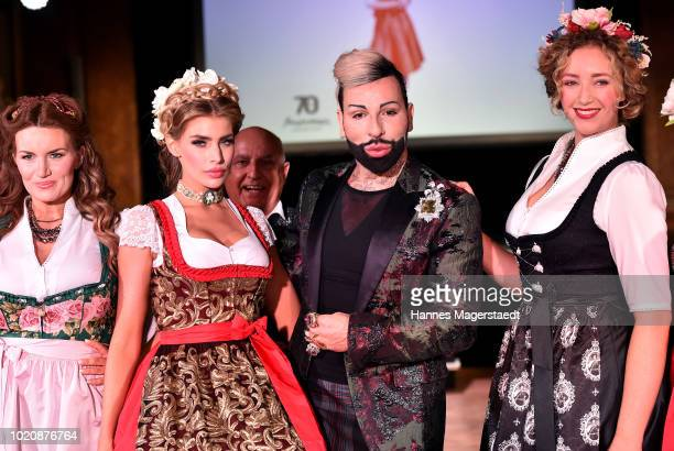 Designer Harald Gloeoeckler with models during 'POMPOEOES By Angermaier Collection Presentation' at Deutsches Theatre on August 21 2018 in Munich...