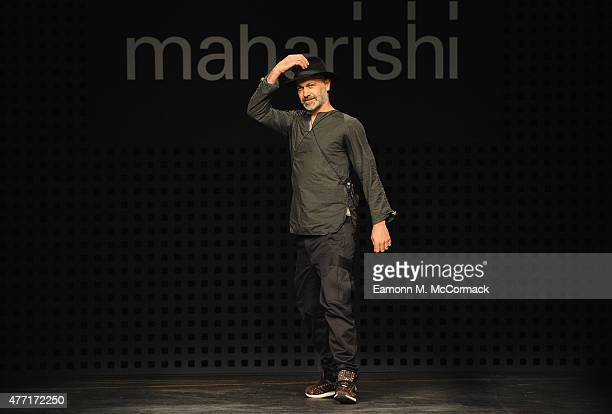 Designer Hardy Blechman walks the runway at the Maharishi show during The London Collections Men SS16 at The Old Sorting Office on June 14, 2015 in...