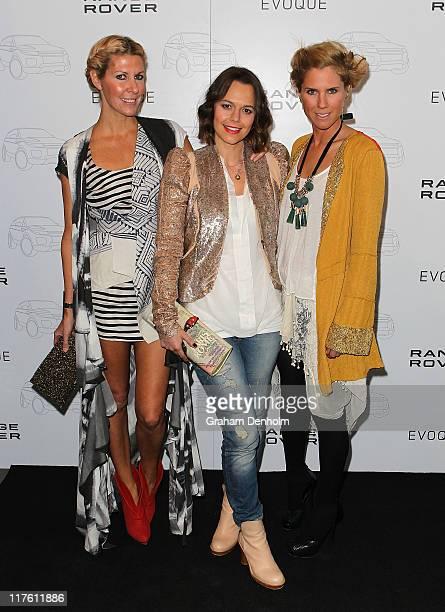 Designer Heidi Middleton media personailty Mia Freedman and designer SarahJane Clarke pose as they attend the launch of the Range Rover Evoque on...