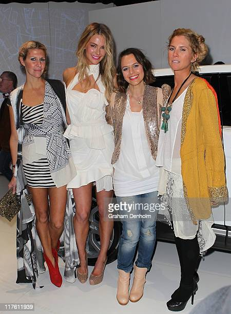 Designer Heidi Middleton model Jennifer Hawkins media personailty Mia Freedman and designer SarahJane Clarke pose as they attend the launch of the...