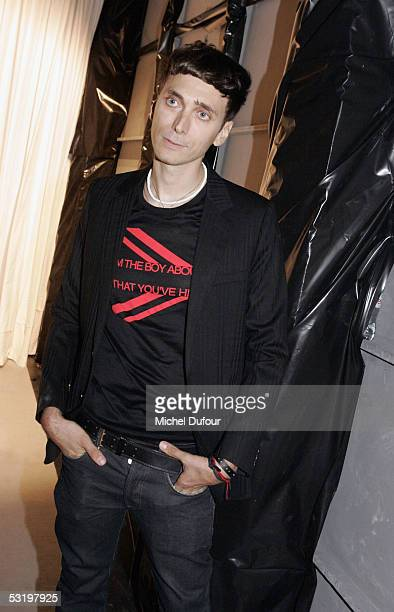 Designer Heidi Slimane attends the Dior's Men fashion Show designed by Heidi Slimane on July 1st 2005 in Paris France