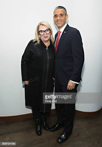Designer Helen Yarmak poses with TV personality Louis Ortiz aka Bronx Obama at the Helen Yarmak Int'l Presentaion Fall 2016 during New York Fashion...