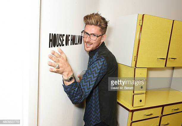 Designer Henry Holland attends a private dinner to showcase the House Of Holland Resort 16 collection at the House Of Holland studios on July 16 2015...