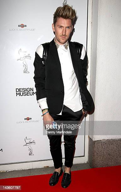 Designer Henry Holland attends private view of the exhibition celebrating 20 years of the famous red soled footwear brand on April 30 2012 in London...