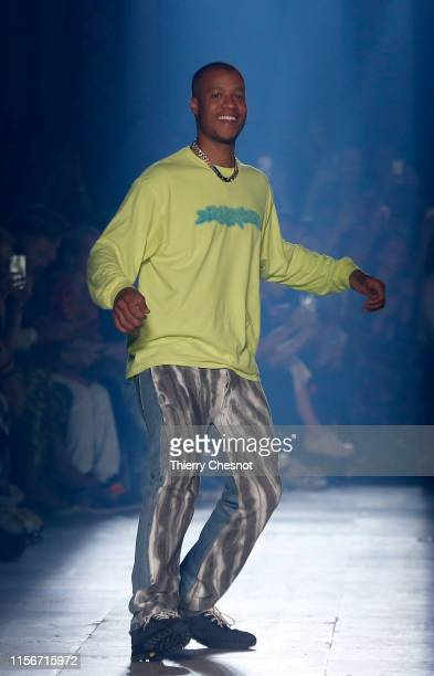 Designer Heron Preston acknowledges the audience at the end of the Heron Preston Menswear Spring Summer 2020 show as part of Paris Fashion Week on...