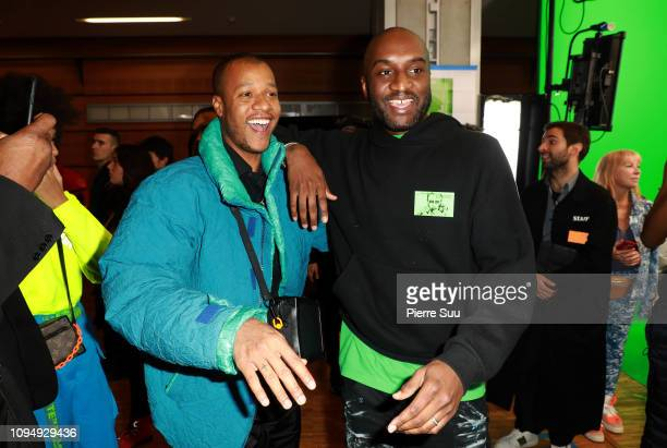 Designer Heron Preston and Designer Virgil Abloh pose Backstage after the Off-White Menswear Fall/Winter 2019-2020 show as part of Paris Fashion Week...