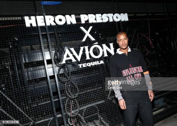 Designer Heron Preston attends the Heron Preston Tequila Avion Dance Party in Celebration Of Heron Preston 'Public Figure' at Public Arts on February...