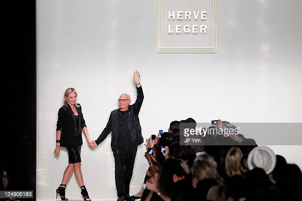 Designer Herve Leger walks the runway after the Herve Leger by Max Azria 2012 fashion show during Mercedes-Benz Fashion Week at The Theater at...