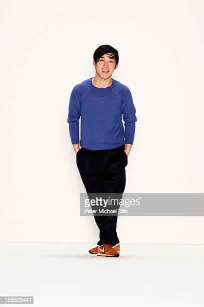 Designer Hien Le acknowledges the audience after the Hien Le Autumn/Winter 2013/14 Fashion Show During MercedesBenz Fashion Week Berlin at...