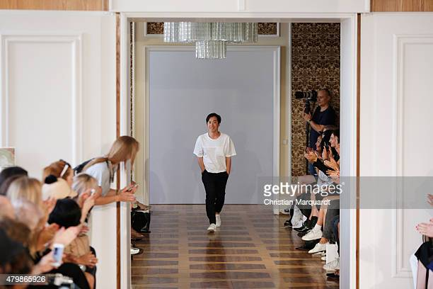 Designer Hien Le walks the runway after his show during the MercedesBenz Fashion Week Berlin Spring/Summer 2016 at Kronprinzenpalais on July 8 2015...