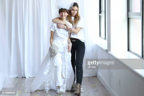 Designer Hillary Taymour and model walk the runway at the Collina Strada AW18 Collection during New York Fashion Week on February 8 2018 in New York...