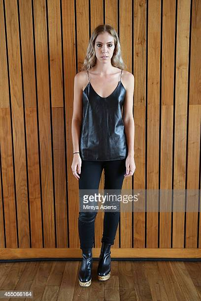 Designer Hillary Taymour poses backstage at Collina Strada presentation during MADE Fashion Week Spring 2015 at The Standard Hotel on September 9...