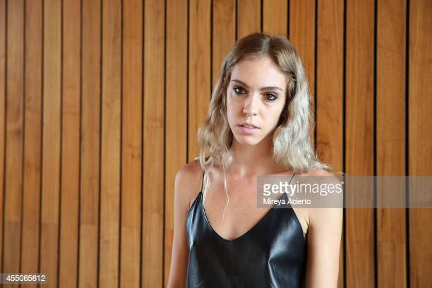 Designer Hillary Taymour poses backstage at the Collina Strada presentation during MADE Fashion Week Spring 2015 at The Standard Hotel on September 9...