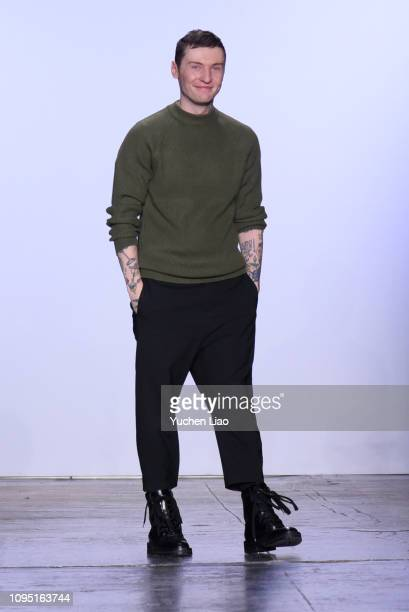 Designer Hogan McLaughlin walks the runway for the Hogan McLaughlin fashion show during New York Fashion Week: The Shows at Industria Studios on...