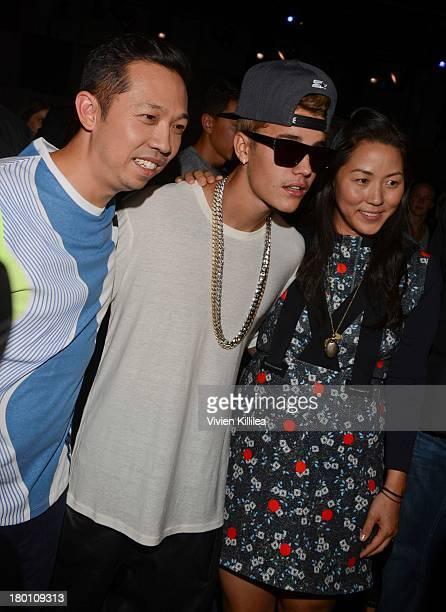 Designer Humberto Leon Justin Bieber and designer Carol Lim attend the Opening Ceremony fashion show during MercedesBenz Fashion Week Spring 2014 at...