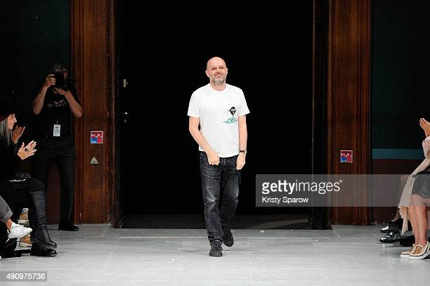 Designer Hussein Chalayan appears on the runway after the Chalayan show as part of the Paris Fashion Week Womenswear Spring/Summer 2016 on October 2...