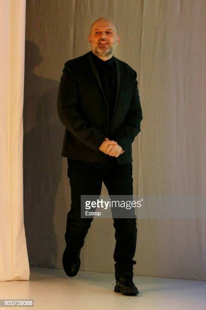 Designer Hussein Chalayan at the Chalayan show during London Fashion Week February 2018 at Sadlers Wells Theatre on February 17 2018 in London England
