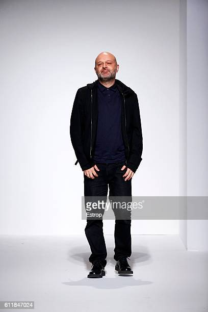 Designer Hussein Chalayan walks the runway during the Chalayan show as part of the Paris Fashion Week Womenswear Spring/Summer 2017 on September 30...