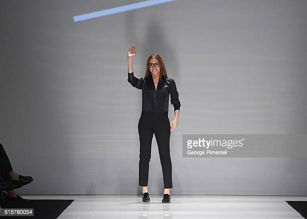 Designer Ifigenia Papadimitriou presents her Fall 2016 collection during Toronto Fashion Week Fall 2016 at David Pecaut Square on March 15 2016 in...