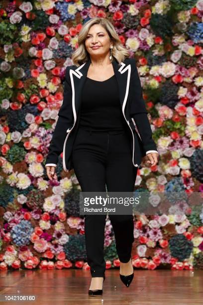 Designer Ingie Chalhoub walks the runway after the Ingie show as part of the Paris Fashion Week Womenswear Spring/Summer 2019 on September 27 2018 in...