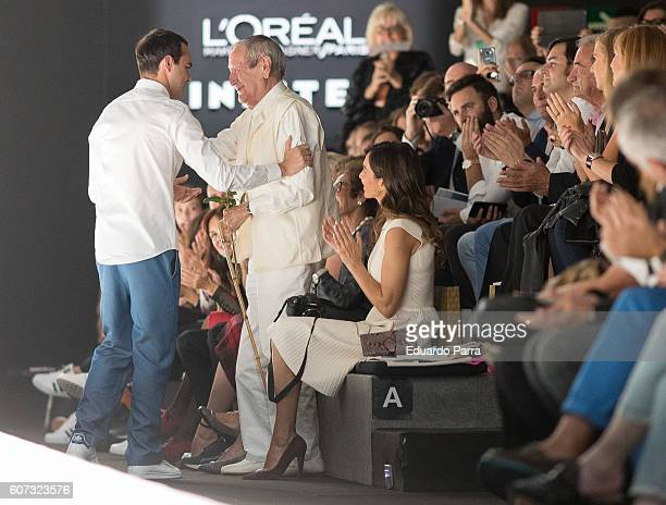 Designer Ion Fiz meets designer Elio Bernhanyer at the Ion Fiz show during MercedesBenz Fashion Week Madrid Spring/Summer 2017 on September 17 2016...