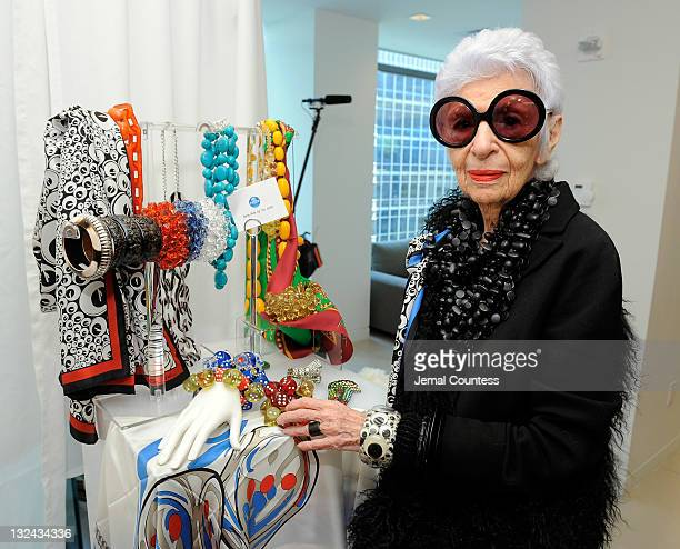 Designer Iris Apfel with pieces from her Rara Avis collection at the HSN Accessories Event at Home Shopping Network on May 12 2011 in New York City