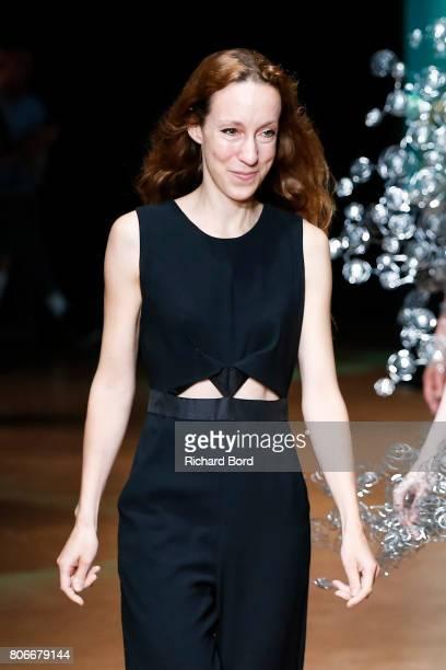 Designer Iris Van Herpen acknowledges the audience during the Iris Van Herpen Haute Couture Fall/Winter 20172018 show as part of Haute Couture Paris...