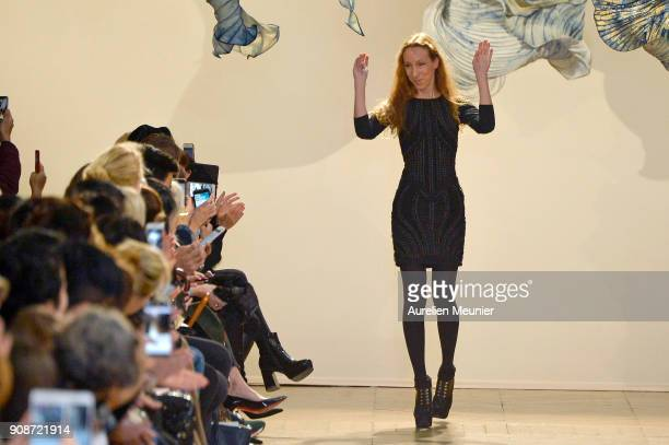 Designer Iris Van Herpen acknowledges the audience during the Iris Van Herpen Haute Couture Spring Summer 2018 show as part of Paris Fashion Week on...