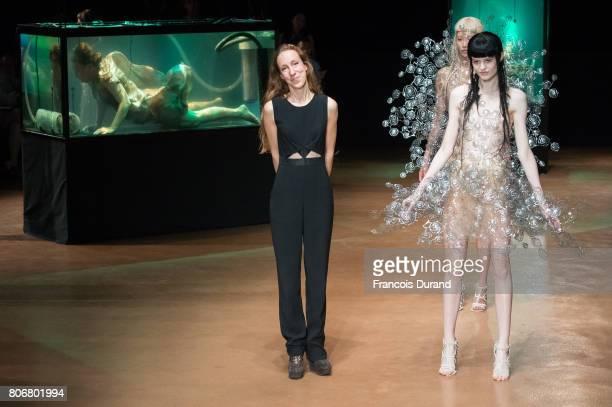 Designer Iris Van Herpen walks the runway during the Iris Van HerpenHaute Couture Fall/Winter 20172018 show as part of Haute Couture Paris Fashion...