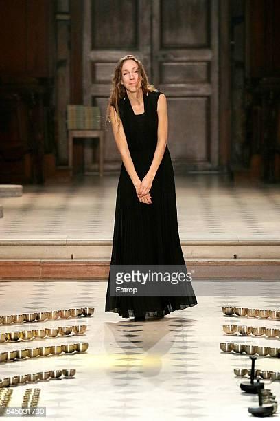 Designer Iris Van Herpen walks the runway during the Iris Van Herpen Haute Couture Fall/Winter 20162017 show as part of Paris Fashion Week on July 4...