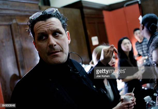 Designer Isaac Mizrahi getting ready for Isaac Mizrahi Fall 2009 during Mercedes-Benz Fashion Week at NY Public Library, 5th Avenue & 42nd Street, on...